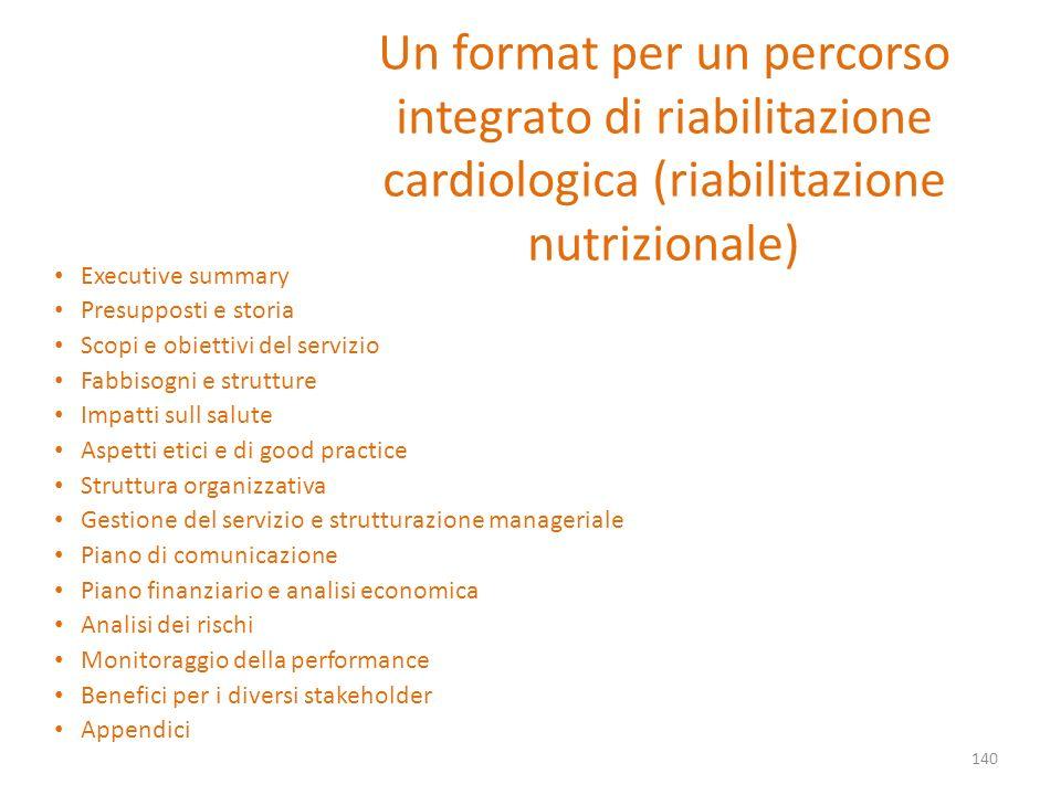 Un format per un percorso integrato di riabilitazione cardiologica (riabilitazione nutrizionale) Executive summary Presupposti e storia Scopi e obiett