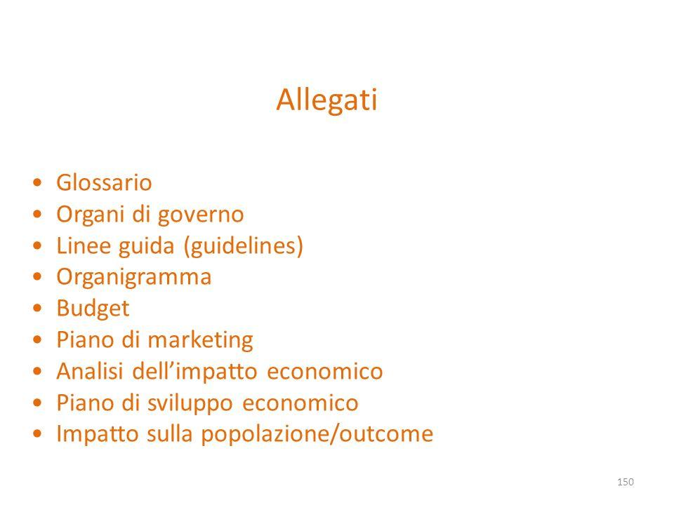 Allegati 150 Glossario Organi di governo Linee guida (guidelines) Organigramma Budget Piano di marketing Analisi dellimpatto economico Piano di svilup