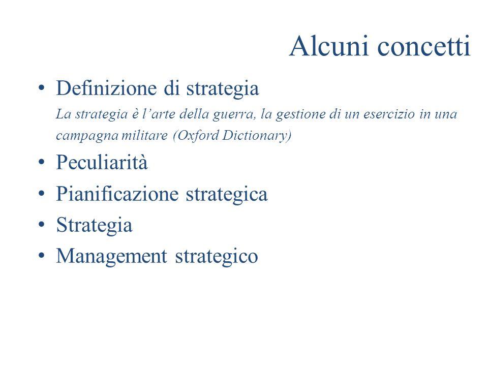 Alcuni concetti Definizione di strategia La strategia è larte della guerra, la gestione di un esercizio in una campagna militare (Oxford Dictionary) P