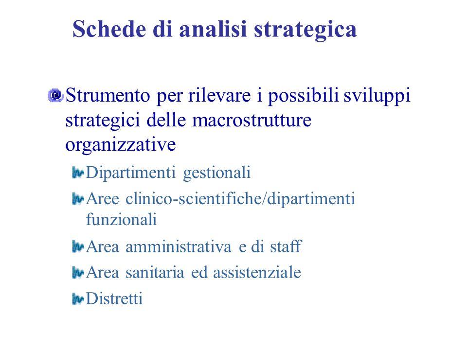 Schede di analisi strategica Strumento per rilevare i possibili sviluppi strategici delle macrostrutture organizzative Dipartimenti gestionali Aree cl