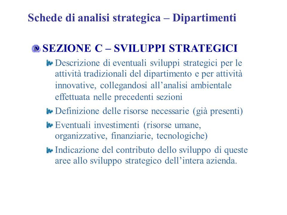 Schede di analisi strategica – Dipartimenti SEZIONE C – SVILUPPI STRATEGICI Descrizione di eventuali sviluppi strategici per le attività tradizionali