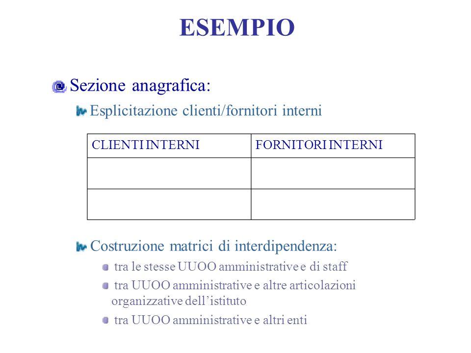ESEMPIO Sezione anagrafica: Esplicitazione clienti/fornitori interni CLIENTI INTERNIFORNITORI INTERNI Costruzione matrici di interdipendenza: tra le s