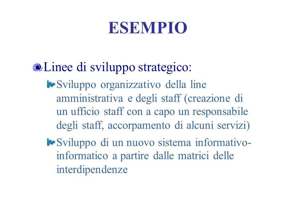 ESEMPIO Linee di sviluppo strategico: Sviluppo organizzativo della line amministrativa e degli staff (creazione di un ufficio staff con a capo un resp