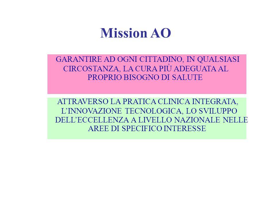 Mission AO GARANTIRE AD OGNI CITTADINO, IN QUALSIASI CIRCOSTANZA, LA CURA PIÙ ADEGUATA AL PROPRIO BISOGNO DI SALUTE ATTRAVERSO LA PRATICA CLINICA INTE