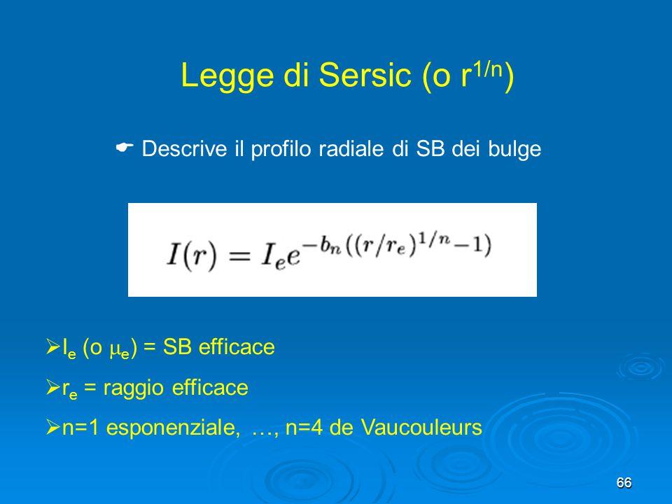 66 Legge di Sersic (o r 1/n ) I e (o e ) = SB efficace r e = raggio efficace n=1 esponenziale, …, n=4 de Vaucouleurs Descrive il profilo radiale di SB dei bulge