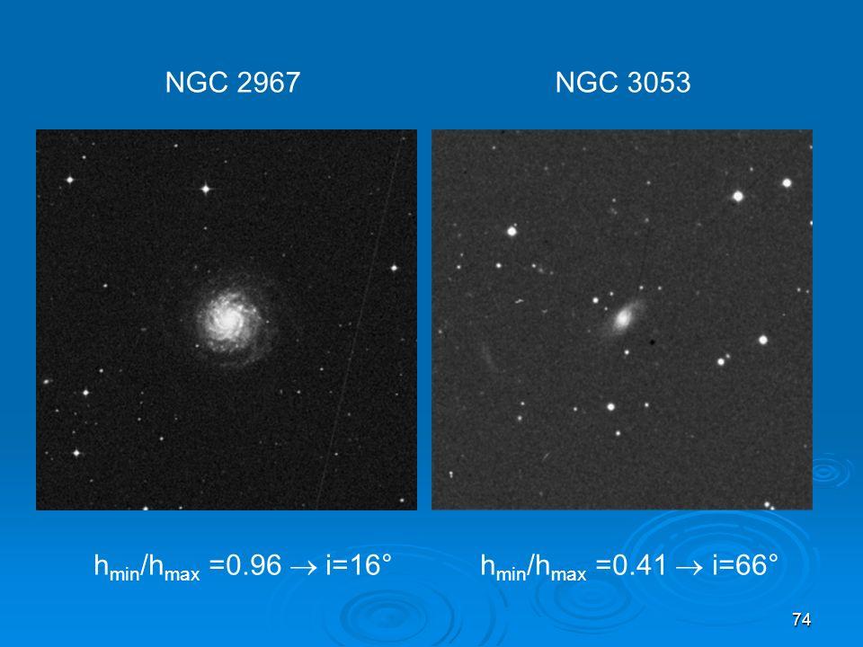 74 h min /h max =0.96 i=16° h min /h max =0.41 i=66° NGC 2967 NGC 3053