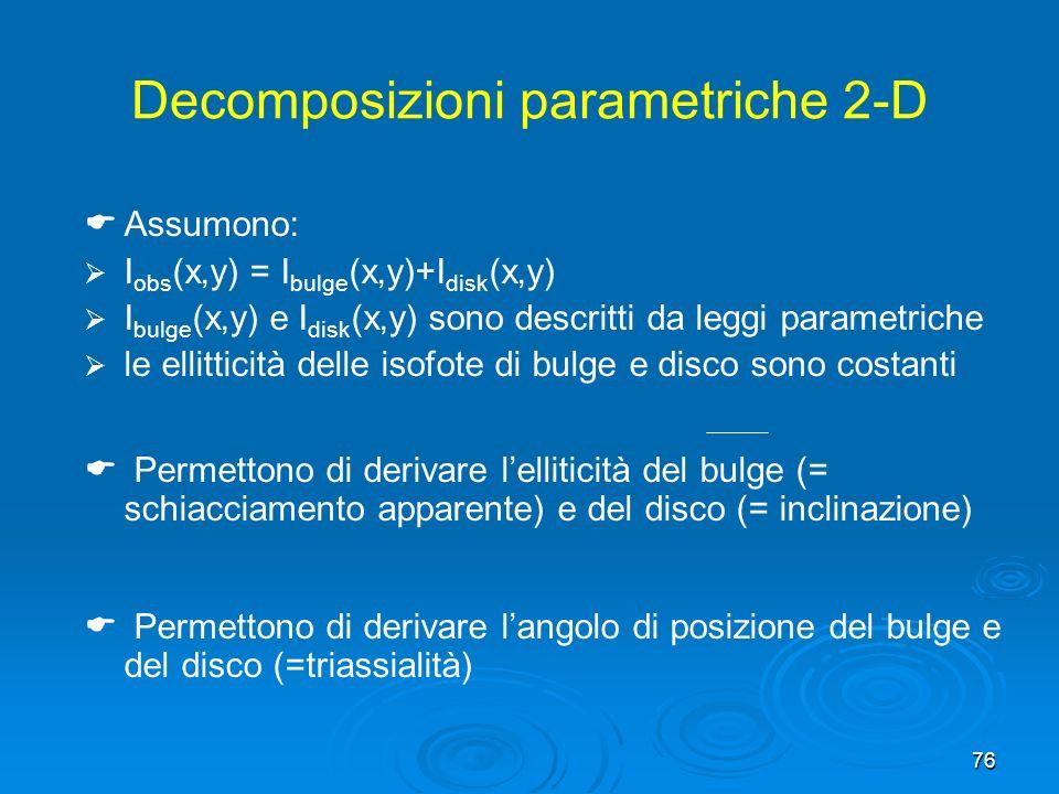 76 Decomposizioni parametriche 2-D Assumono: I obs (x,y) = I bulge (x,y)+I disk (x,y) I bulge (x,y) e I disk (x,y) sono descritti da leggi parametriche le ellitticità delle isofote di bulge e disco sono costanti Permettono di derivare lelliticità del bulge (= schiacciamento apparente) e del disco (= inclinazione) Permettono di derivare langolo di posizione del bulge e del disco (=triassialità)