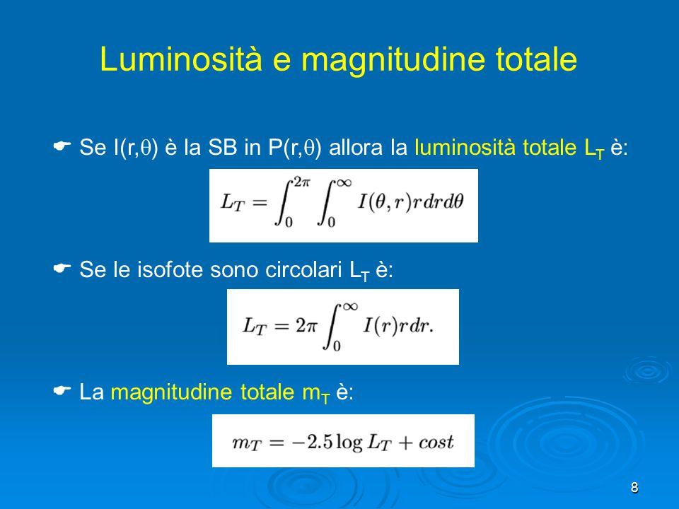 8 Se I(r, ) è la SB in P(r, ) allora la luminosità totale L T è: Se le isofote sono circolari L T è: La magnitudine totale m T è: Luminosità e magnitudine totale