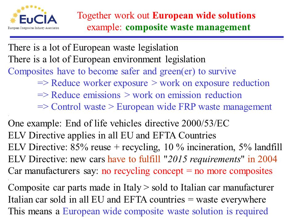 European Composites Industry Association Together work out European wide solutions