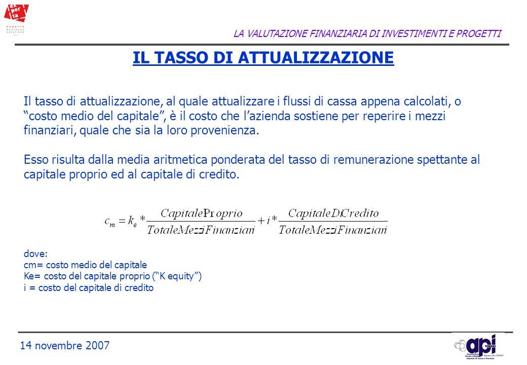 LA VALUTAZIONE FINANZIARIA DI INVESTIMENTI E PROGETTI 14 novembre 2007 IL TASSO DI ATTUALIZZAZIONE Il tasso di attualizzazione, al quale attualizzare
