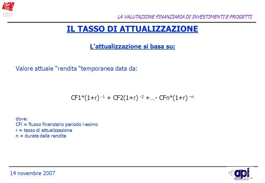 LA VALUTAZIONE FINANZIARIA DI INVESTIMENTI E PROGETTI 14 novembre 2007 IL TASSO DI ATTUALIZZAZIONE Lattualizzazione si basa su: Valore attuale rendita
