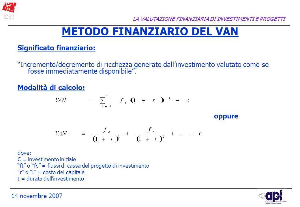 LA VALUTAZIONE FINANZIARIA DI INVESTIMENTI E PROGETTI 14 novembre 2007 METODO FINANZIARIO DEL VAN Significato finanziario: Incremento/decremento di ri