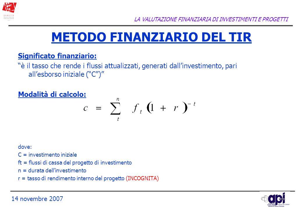 LA VALUTAZIONE FINANZIARIA DI INVESTIMENTI E PROGETTI 14 novembre 2007 Significato finanziario: è il tasso che rende i flussi attualizzati, generati d