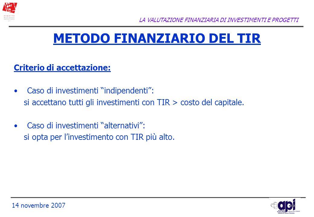 LA VALUTAZIONE FINANZIARIA DI INVESTIMENTI E PROGETTI 14 novembre 2007 METODO FINANZIARIO DEL TIR Criterio di accettazione: Caso di investimenti indip