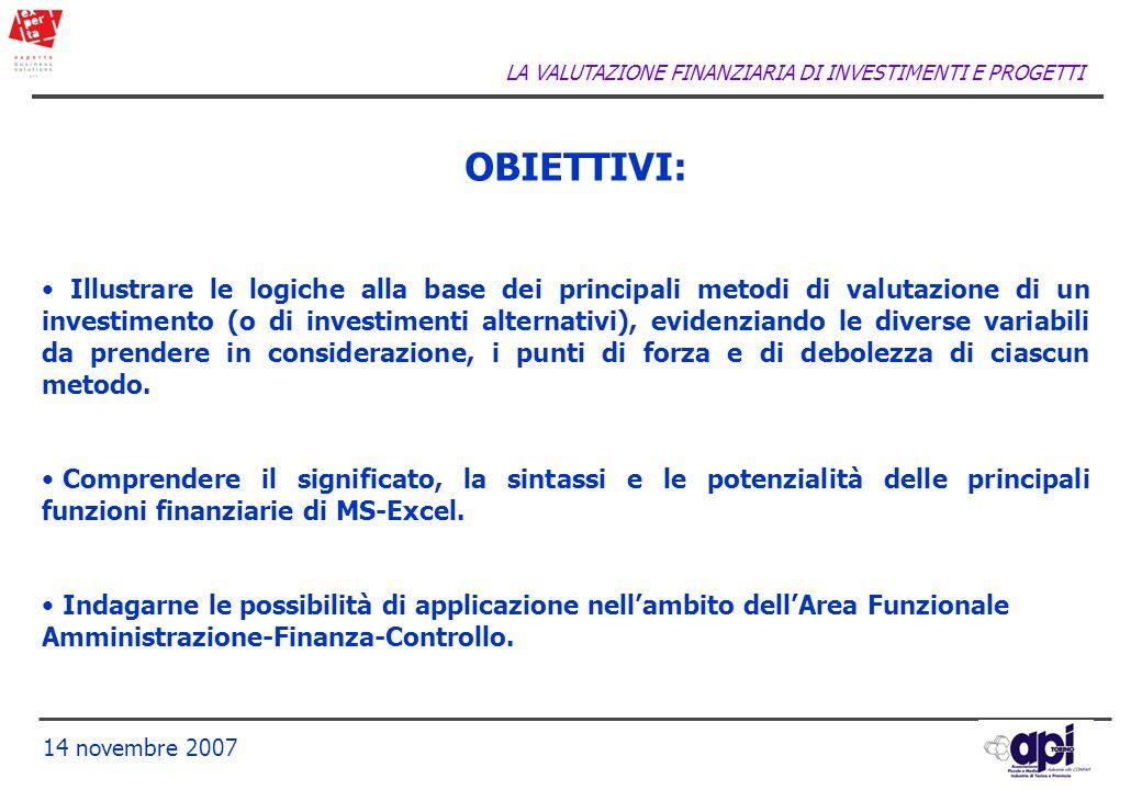 LA VALUTAZIONE FINANZIARIA DI INVESTIMENTI E PROGETTI 14 novembre 2007 OBIETTIVI: Illustrare le logiche alla base dei principali metodi di valutazione