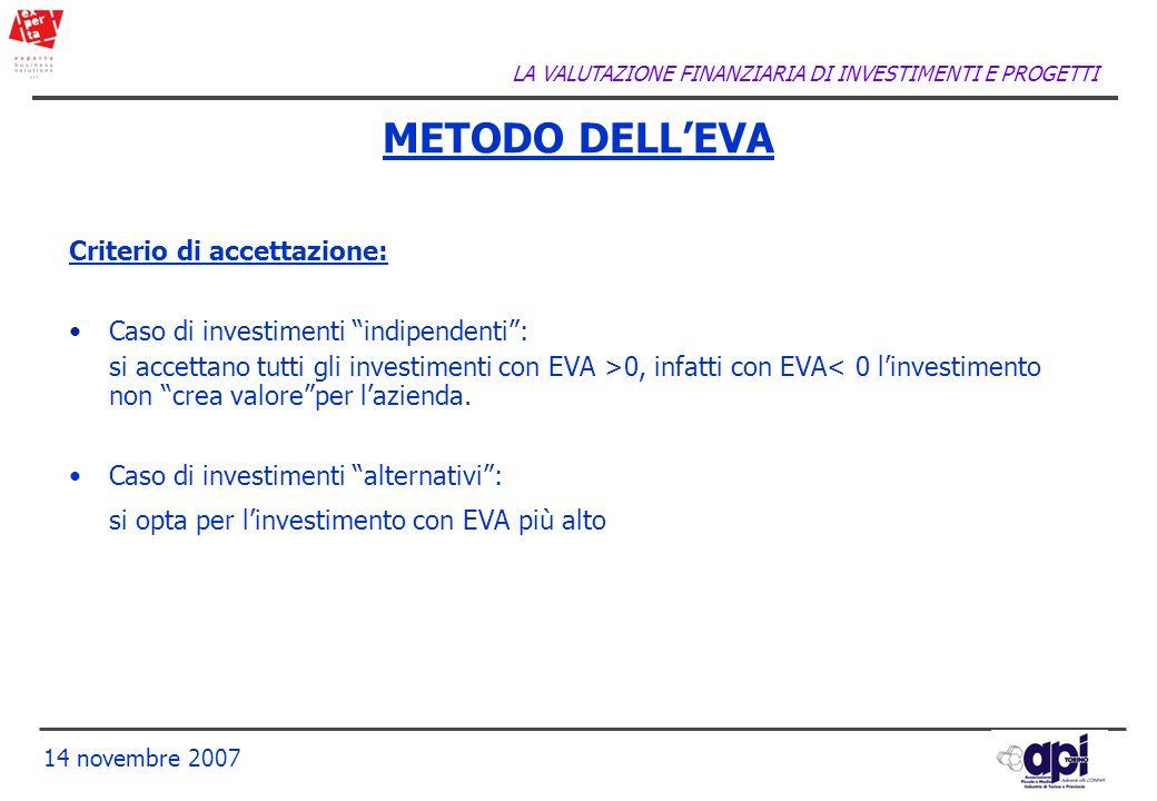 LA VALUTAZIONE FINANZIARIA DI INVESTIMENTI E PROGETTI 14 novembre 2007 METODO DELLEVA Criterio di accettazione: Caso di investimenti indipendenti: si