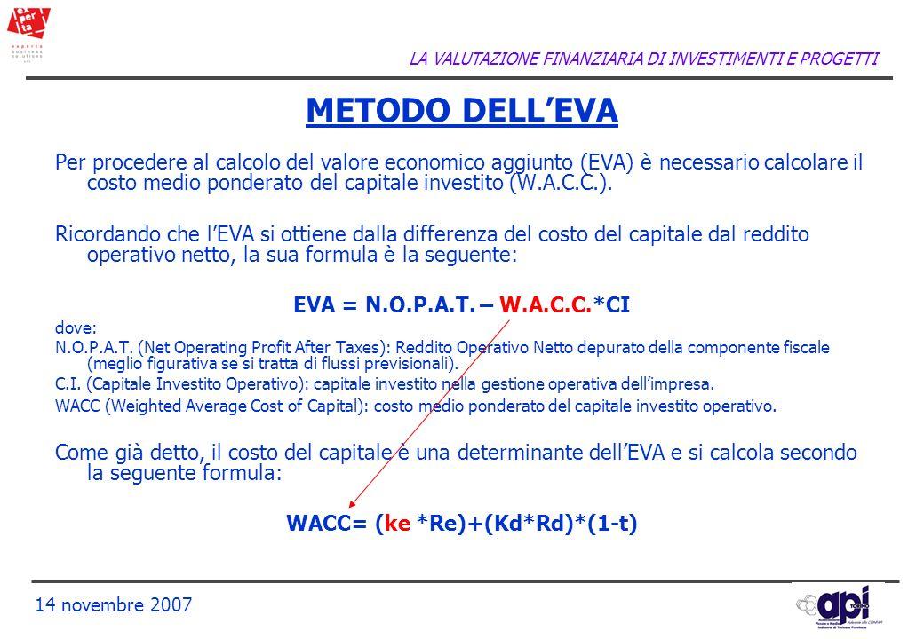 LA VALUTAZIONE FINANZIARIA DI INVESTIMENTI E PROGETTI 14 novembre 2007 Per procedere al calcolo del valore economico aggiunto (EVA) è necessario calco