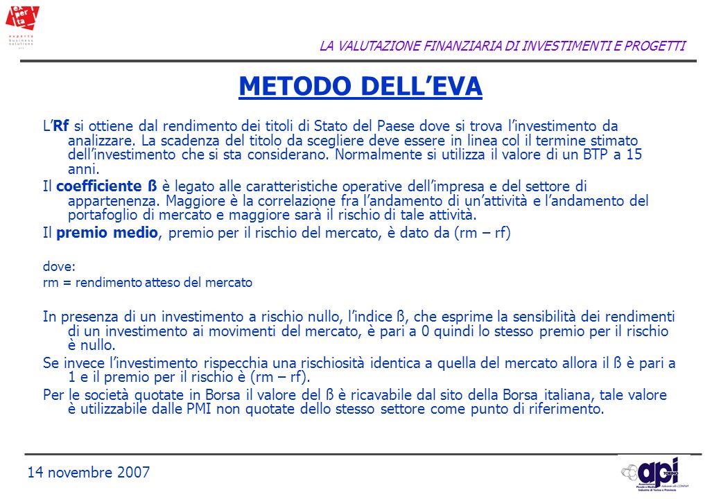 LA VALUTAZIONE FINANZIARIA DI INVESTIMENTI E PROGETTI 14 novembre 2007 LRf si ottiene dal rendimento dei titoli di Stato del Paese dove si trova linve