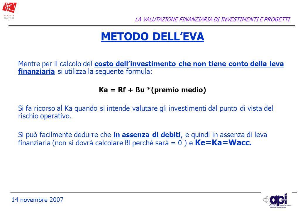 LA VALUTAZIONE FINANZIARIA DI INVESTIMENTI E PROGETTI 14 novembre 2007 Mentre per il calcolo del costo dellinvestimento che non tiene conto della leva