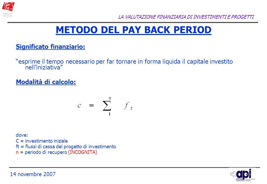 LA VALUTAZIONE FINANZIARIA DI INVESTIMENTI E PROGETTI 14 novembre 2007 METODO DEL PAY BACK PERIOD Significato finanziario: esprime il tempo necessario