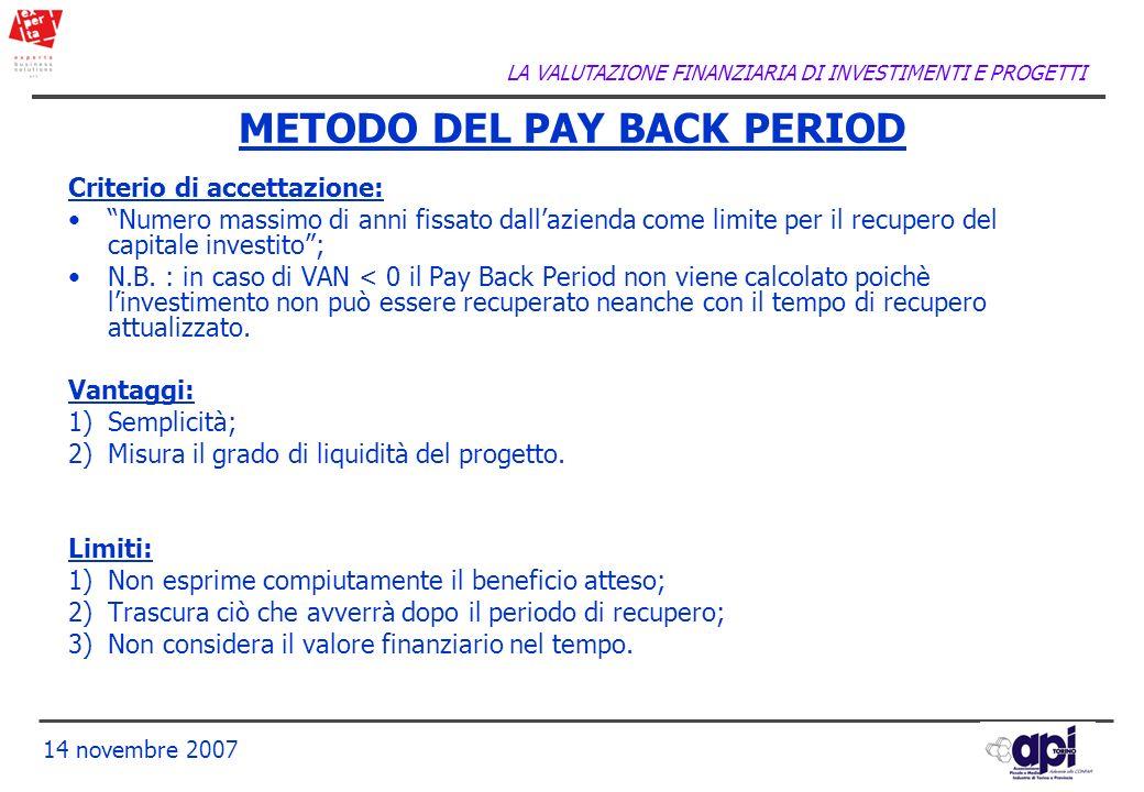 LA VALUTAZIONE FINANZIARIA DI INVESTIMENTI E PROGETTI 14 novembre 2007 Criterio di accettazione: Numero massimo di anni fissato dallazienda come limit
