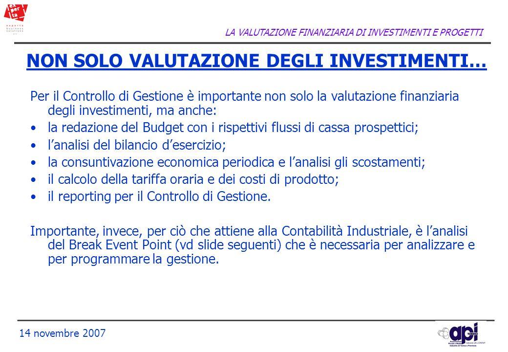 LA VALUTAZIONE FINANZIARIA DI INVESTIMENTI E PROGETTI 14 novembre 2007 NON SOLO VALUTAZIONE DEGLI INVESTIMENTI… Per il Controllo di Gestione è importa