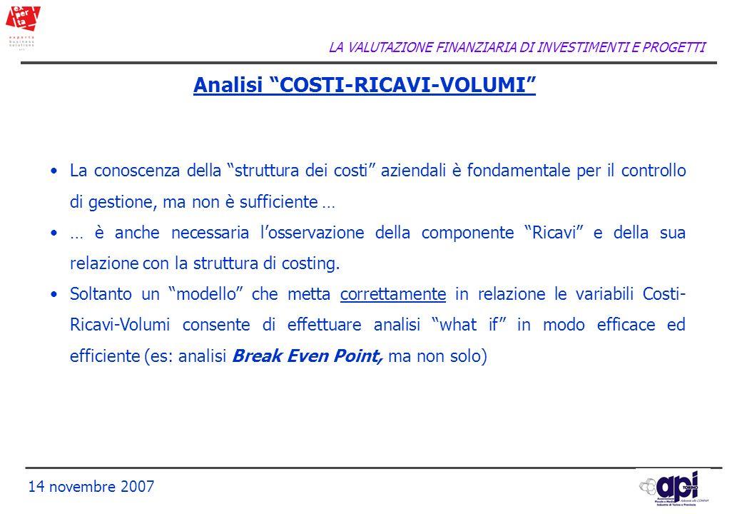 LA VALUTAZIONE FINANZIARIA DI INVESTIMENTI E PROGETTI 14 novembre 2007 Analisi COSTI-RICAVI-VOLUMI La conoscenza della struttura dei costi aziendali è