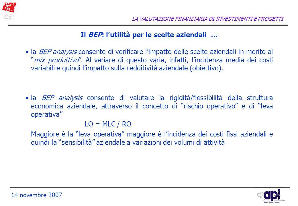 LA VALUTAZIONE FINANZIARIA DI INVESTIMENTI E PROGETTI 14 novembre 2007 Il BEP: lutilità per le scelte aziendali … la BEP analysis consente di verifica