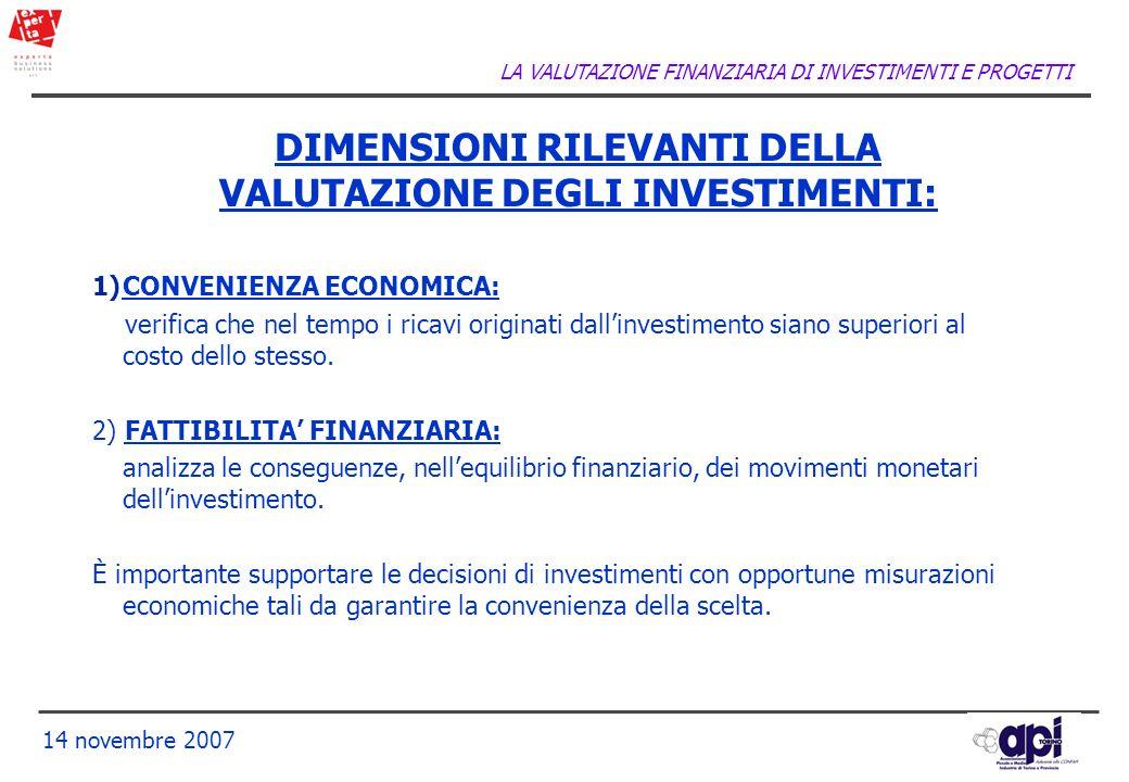 LA VALUTAZIONE FINANZIARIA DI INVESTIMENTI E PROGETTI 14 novembre 2007 DIMENSIONI RILEVANTI DELLA VALUTAZIONE DEGLI INVESTIMENTI: 1)CONVENIENZA ECONOM