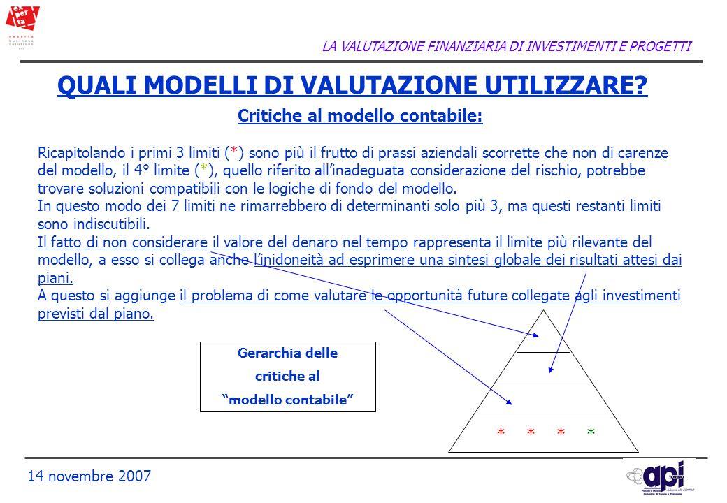 LA VALUTAZIONE FINANZIARIA DI INVESTIMENTI E PROGETTI 14 novembre 2007 QUALI MODELLI DI VALUTAZIONE UTILIZZARE? Critiche al modello contabile: Ricapit