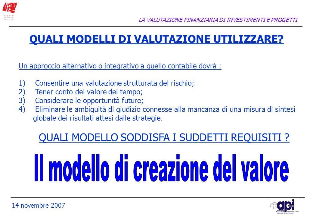 LA VALUTAZIONE FINANZIARIA DI INVESTIMENTI E PROGETTI 14 novembre 2007 QUALI MODELLI DI VALUTAZIONE UTILIZZARE? Un approccio alternativo o integrativo