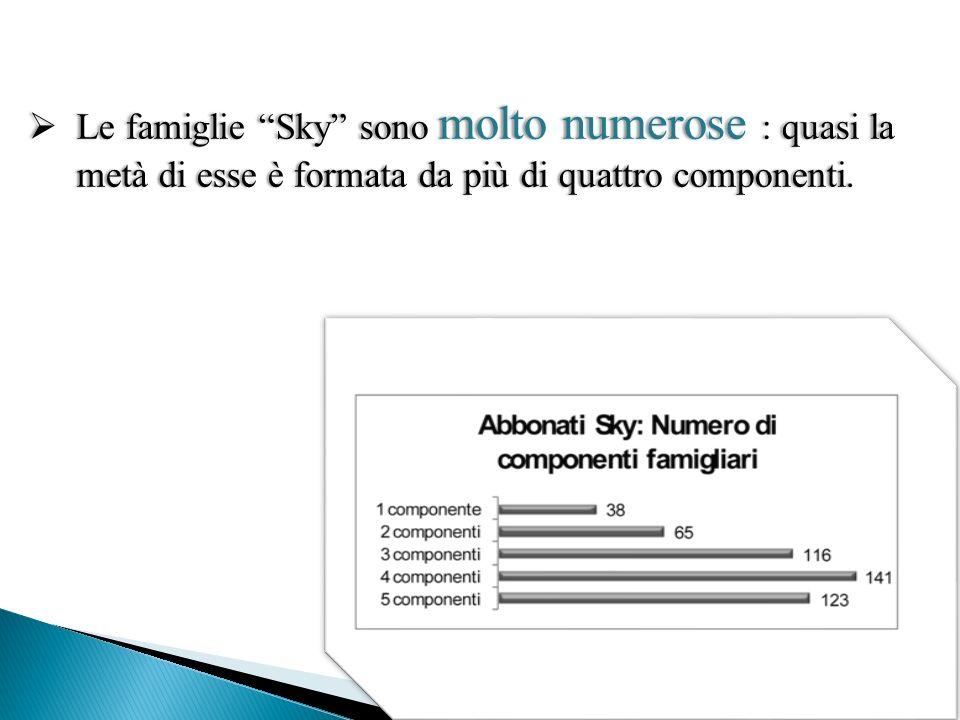Le famiglie Sky sono molto numerose : quasi la metà di esse è formata da più di quattro componenti.