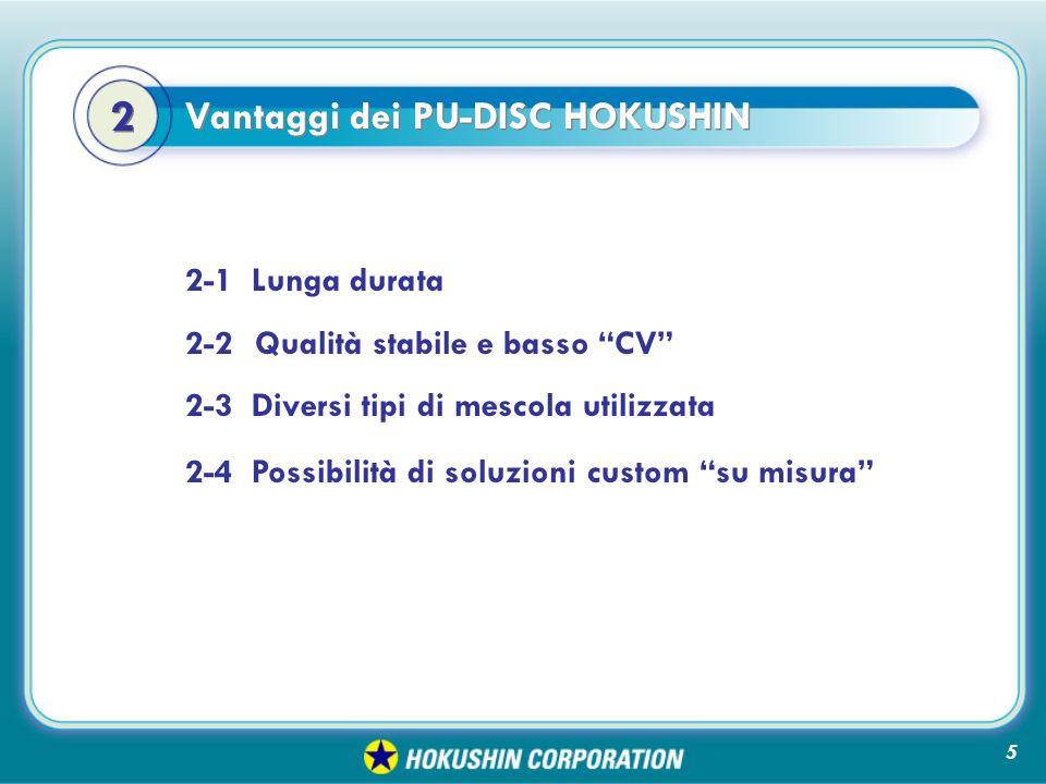 2-1 Lunga durata 2-2Qualità stabile e basso CV 2-3 Diversi tipi di mescola utilizzata Vantaggi dei PU-DISC HOKUSHIN 2 2 2-4 Possibilità di soluzioni custom su misura 5
