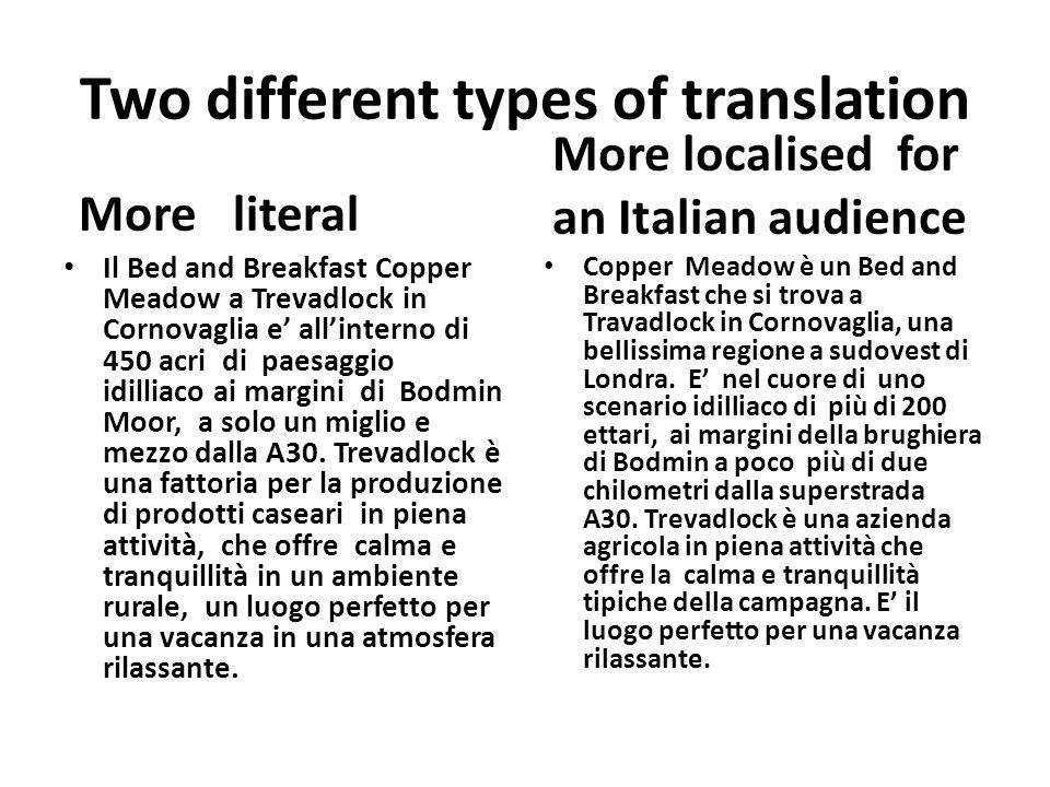 TRANSLATION STRATEGIES, see Nigros set book Equation(bed and breakfast)/substitution ( farmhouse/ azienda agricola, fattoria, cascina) Divergence (you= tu/lei/voi)/convergence (liberty and freedom =liberta) Amplification ( the A30 = la superstrada A30 )/reduction (Bodmin Moor) Diffusion ( our breakfasts= le nostre tipiche abbondanti colazioni allinglese / condensation ( le nostre colazioni) Sequence ( The visit England Breakfast Award = il riconoscimento della Associazione Visit England per la qualita delle nostre colazioni.