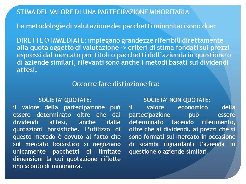 STIMA DEL VALORE DI UNA PARTECIPAZIONE MINORITARIA Le metodologie di valutazione dei pacchetti minoritari sono due: DIRETTE O IMMEDIATE: impiegano gra
