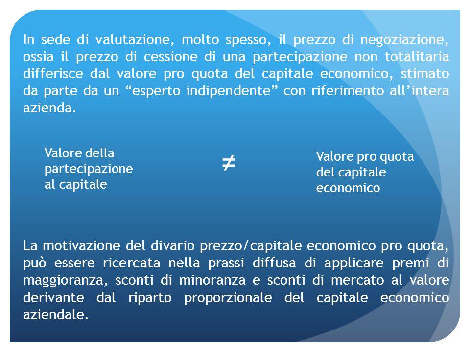 In sede di valutazione, molto spesso, il prezzo di negoziazione, ossia il prezzo di cessione di una partecipazione non totalitaria differisce dal valo