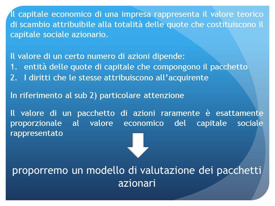 Il capitale economico di una impresa rappresenta il valore teorico di scambio attribuibile alla totalità delle quote che costituiscono il capitale soc