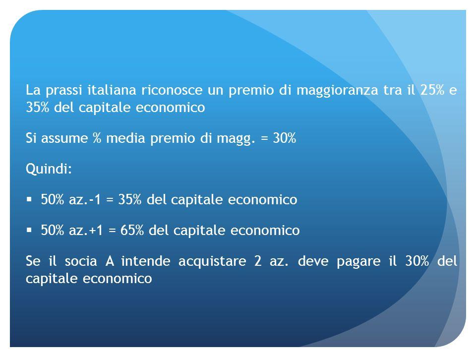 La prassi italiana riconosce un premio di maggioranza tra il 25% e 35% del capitale economico Si assume % media premio di magg. = 30% Quindi: 50% az.-