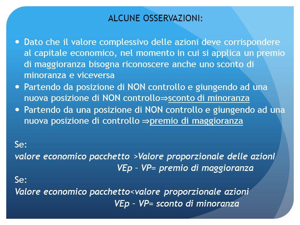 ALCUNE OSSERVAZIONI: Dato che il valore complessivo delle azioni deve corrispondere al capitale economico, nel momento in cui si applica un premio di