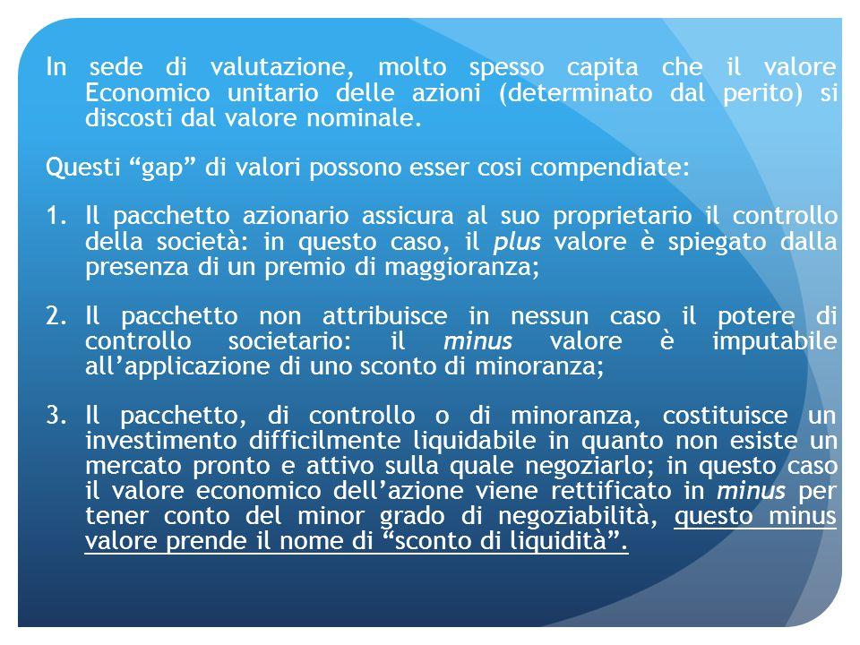 In sede di valutazione, molto spesso capita che il valore Economico unitario delle azioni (determinato dal perito) si discosti dal valore nominale. Qu