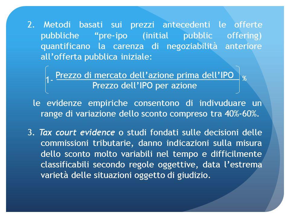2. Metodi basati sui prezzi antecedenti le offerte pubbliche pre-ipo (initial pubblic offering) quantificano la carenza di negoziabilità anteriore all