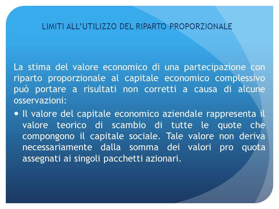 LIMITI ALLUTILIZZO DEL RIPARTO PROPORZIONALE La stima del valore economico di una partecipazione con riparto proporzionale al capitale economico compl
