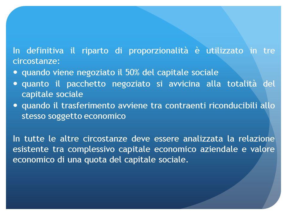 In definitiva il riparto di proporzionalità è utilizzato in tre circostanze: quando viene negoziato il 50% del capitale sociale quanto il pacchetto ne