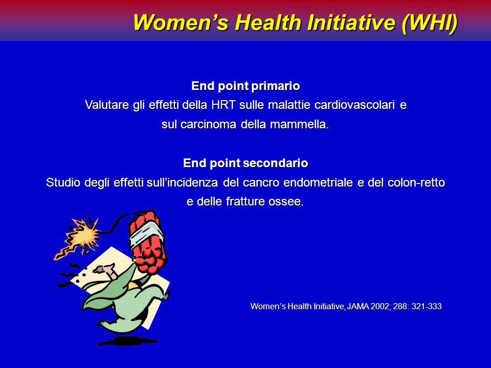 Womens Health Initiative (WHI) Womens Health Initiative (WHI) End point primario Valutare gli effetti della HRT sulle malattie cardiovascolari e sul c