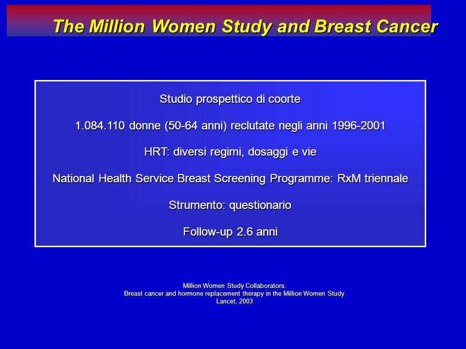 Studio prospettico di coorte 1.084.110 donne (50-64 anni) reclutate negli anni 1996-2001 HRT: diversi regimi, dosaggi e vie National Health Service Br