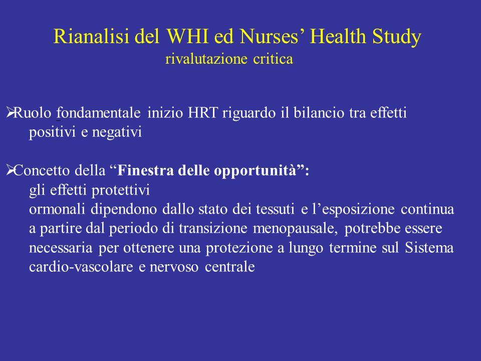 Rianalisi del WHI ed Nurses Health Study rivalutazione critica Ruolo fondamentale inizio HRT riguardo il bilancio tra effetti positivi e negativi Conc