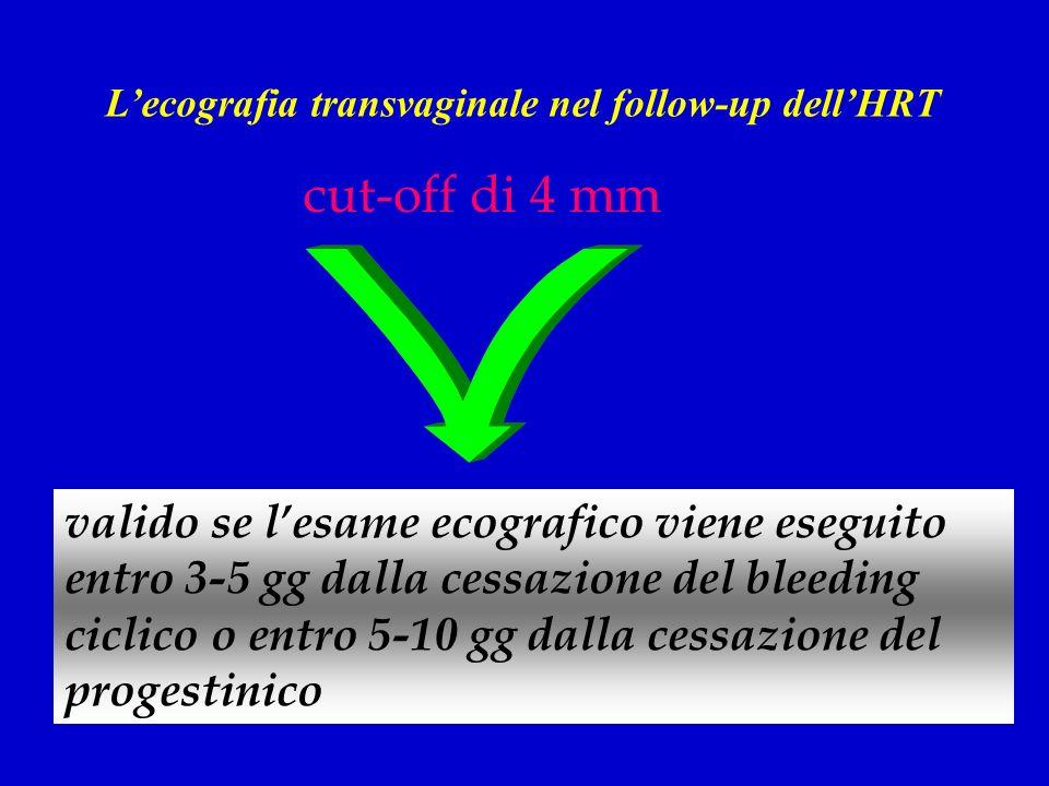 valido se lesame ecografico viene eseguito entro 3-5 gg dalla cessazione del bleeding ciclico o entro 5-10 gg dalla cessazione del progestinico cut-of