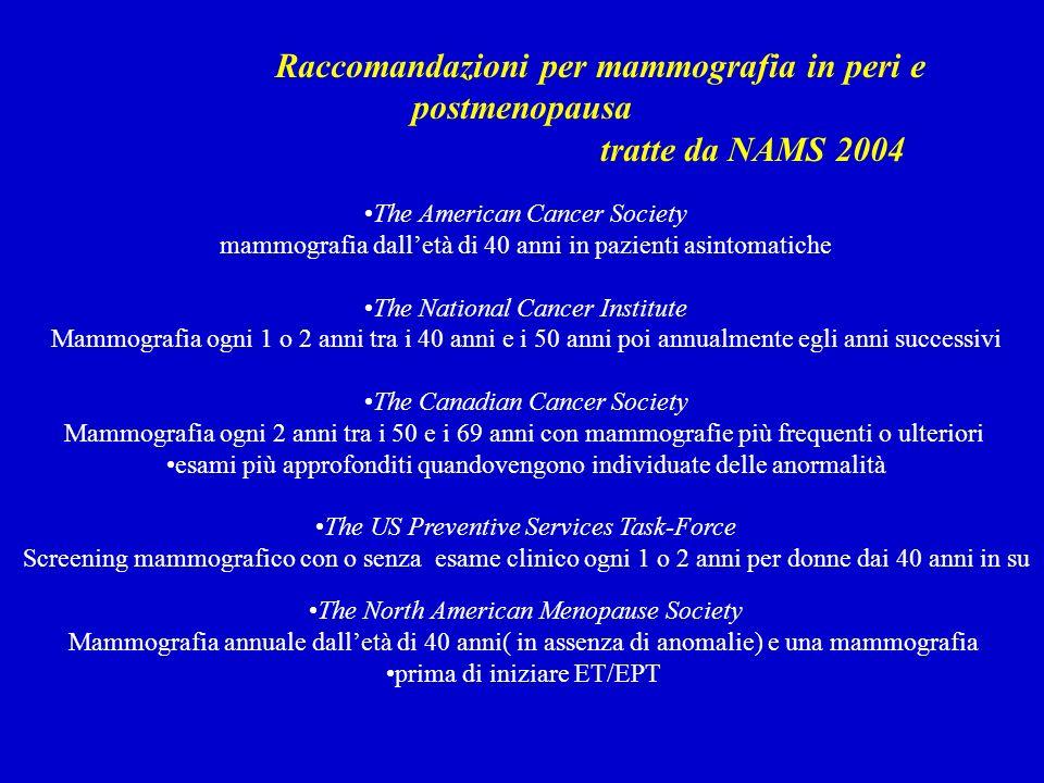 Raccomandazioni per mammografia in peri e postmenopausa tratte da NAMS 2004 The American Cancer Society mammografia dalletà di 40 anni in pazienti asi