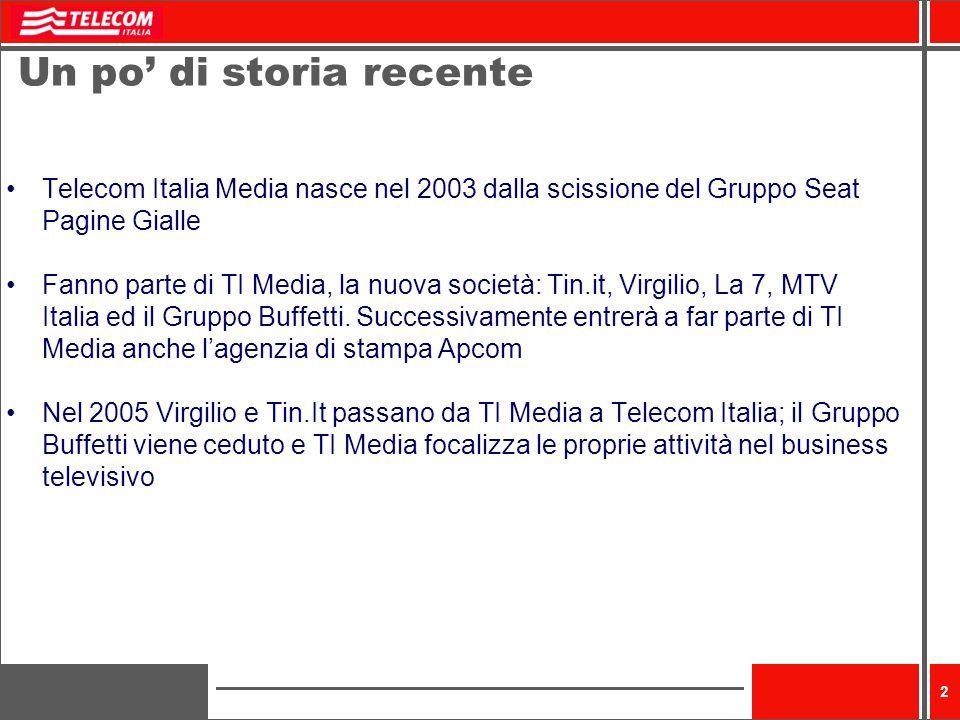 2 Un po di storia recente Telecom Italia Media nasce nel 2003 dalla scissione del Gruppo Seat Pagine Gialle Fanno parte di TI Media, la nuova società: Tin.it, Virgilio, La 7, MTV Italia ed il Gruppo Buffetti.