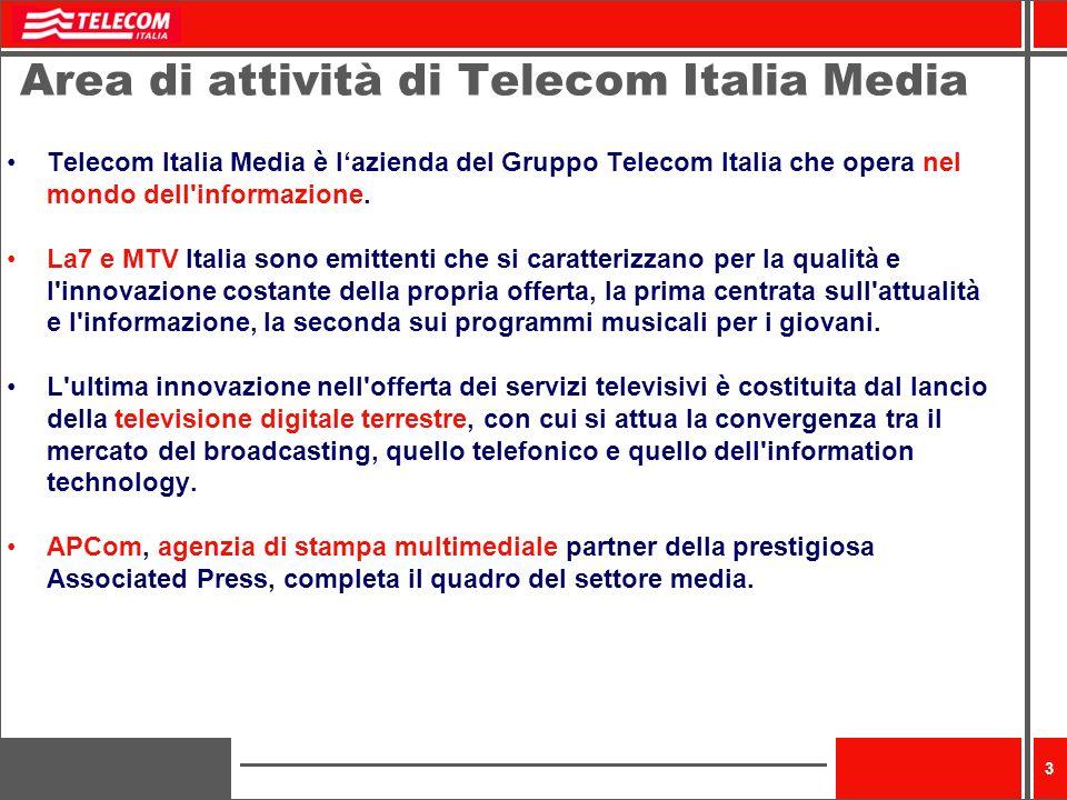 3 Area di attività di Telecom Italia Media Telecom Italia Media è lazienda del Gruppo Telecom Italia che opera nel mondo dell informazione.